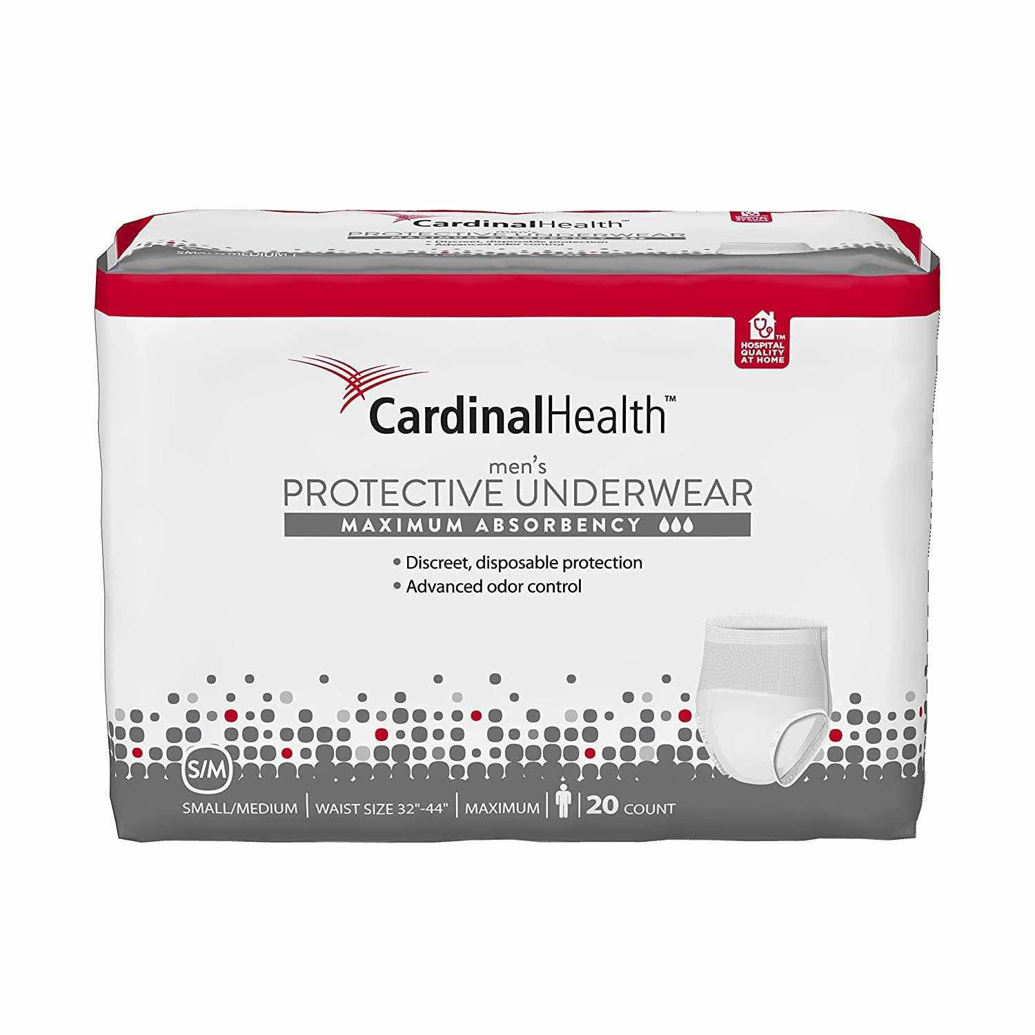 Cardinal Health Maximum Absorbency Protective Underwear for Men, 32