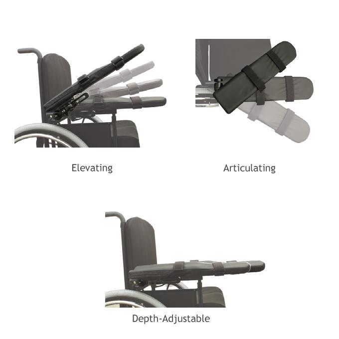 Comfort tall rail arm support pad - Hardware options