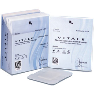 Cellera Vitale Silicone Super-Absorbent Dressings, 3.5 Inch x 4 Inch