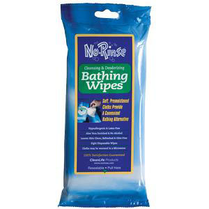 """Cleanlife Products No-rinse Bathing Wipes, Alcohol-Free 8"""" x 8"""""""