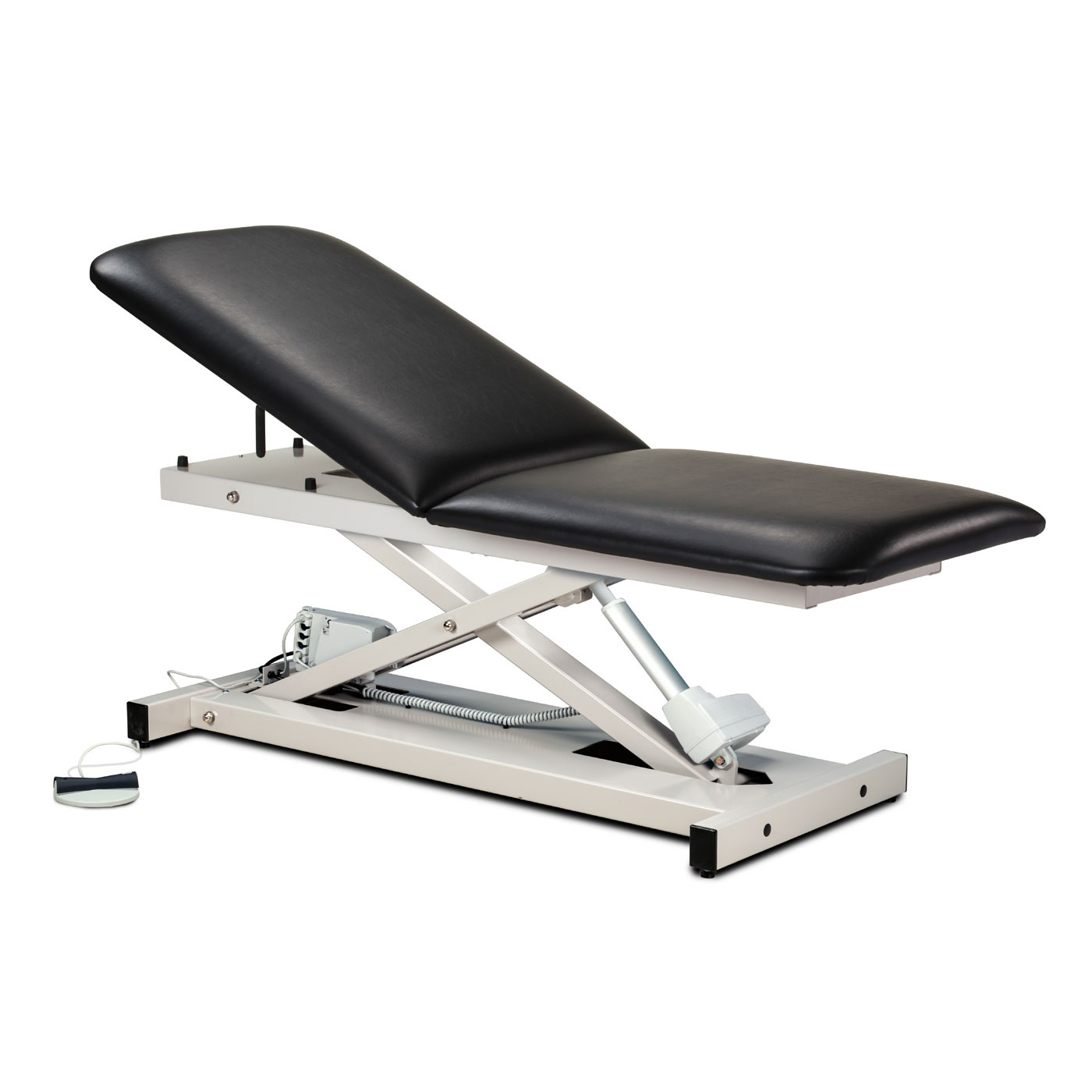 Clinton open base power table with adjustable backrest
