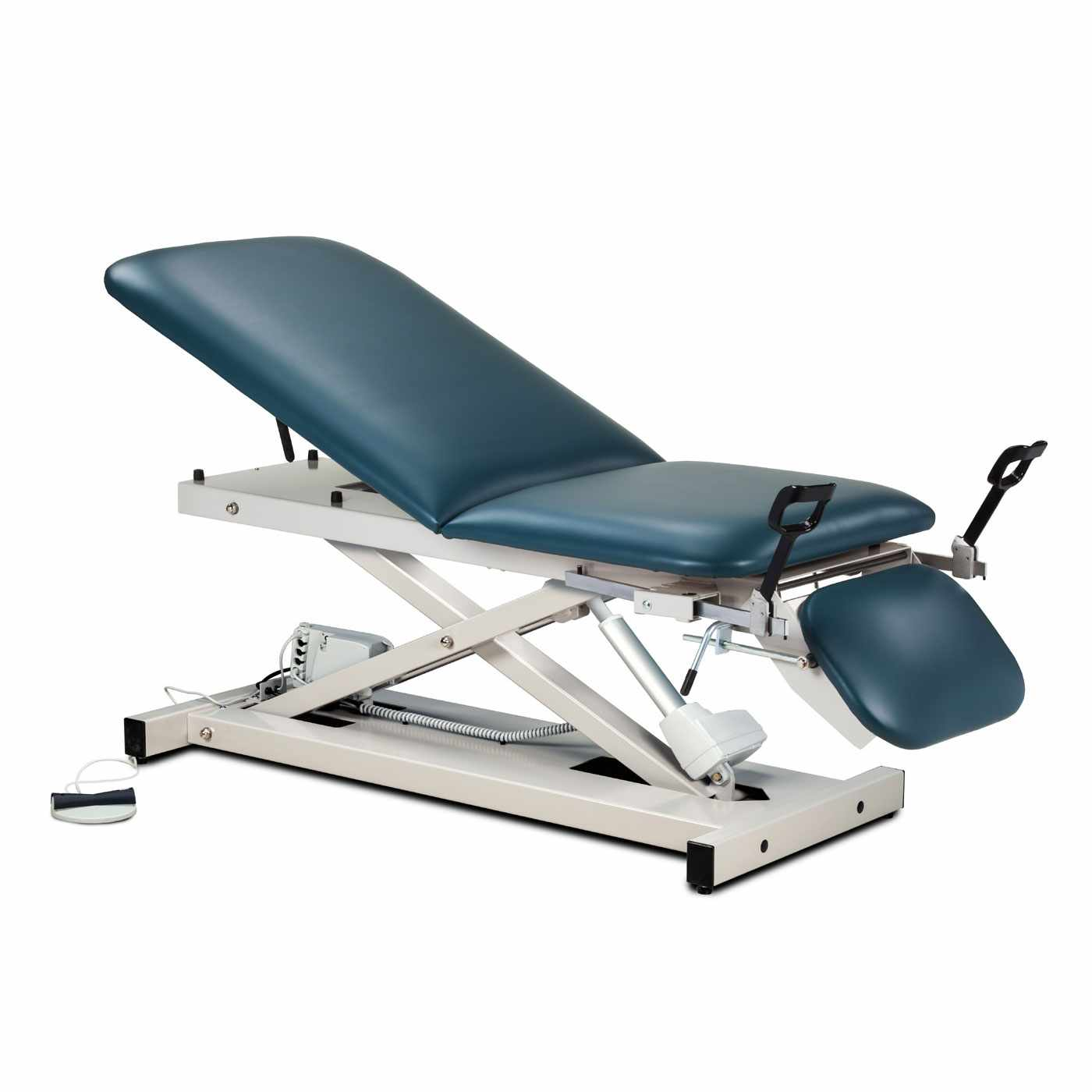 Clinton open base power table with adjustable backrest, footrest and stirrups