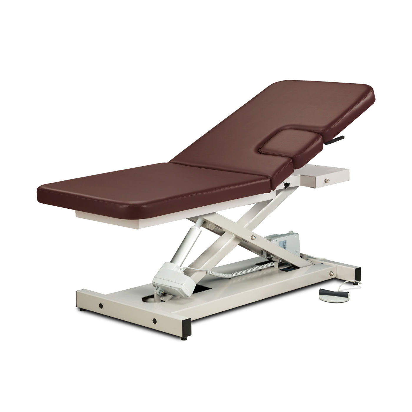 Clinton open base, power imaging table with window drop and adjustable backrest