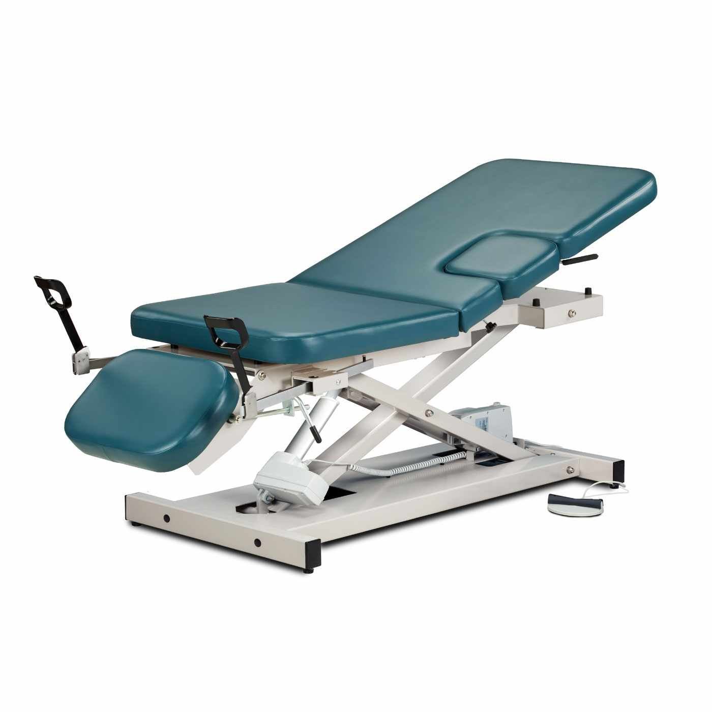 Clinton open base, multi-use power imaging table with stirrups