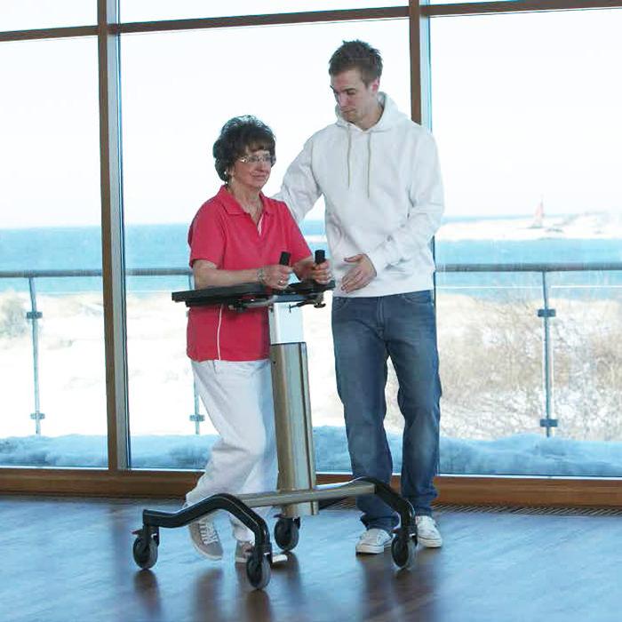 Step-up platform support walker