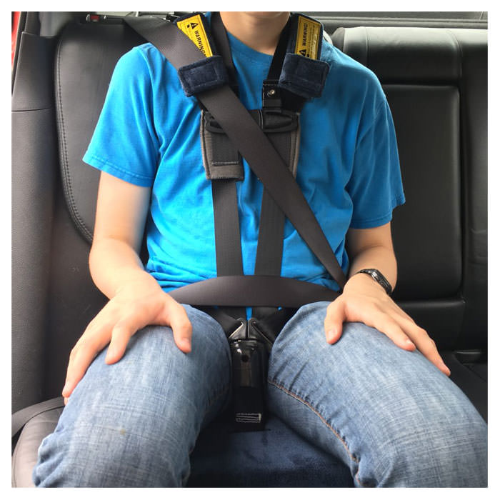 Churchill car seat with positioning harness