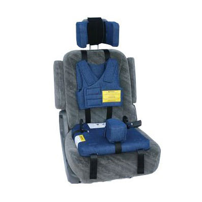 Churchill car seat with positioning vest for upper body support