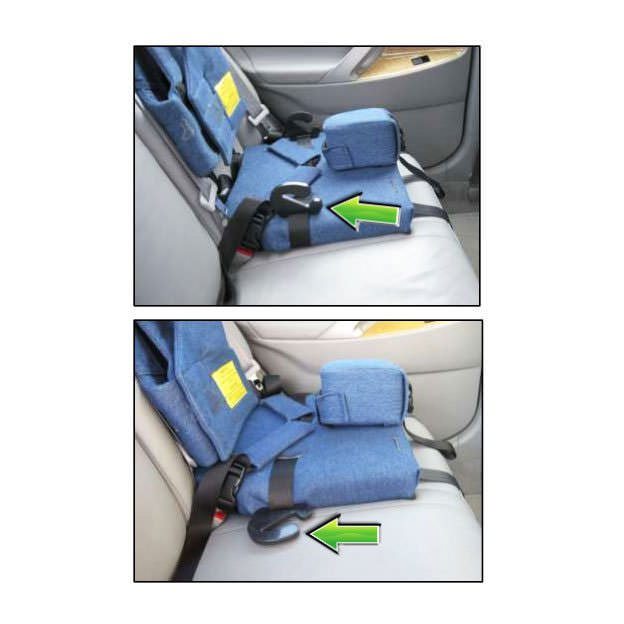 Churchill car seat with positioning vest - Belt guides