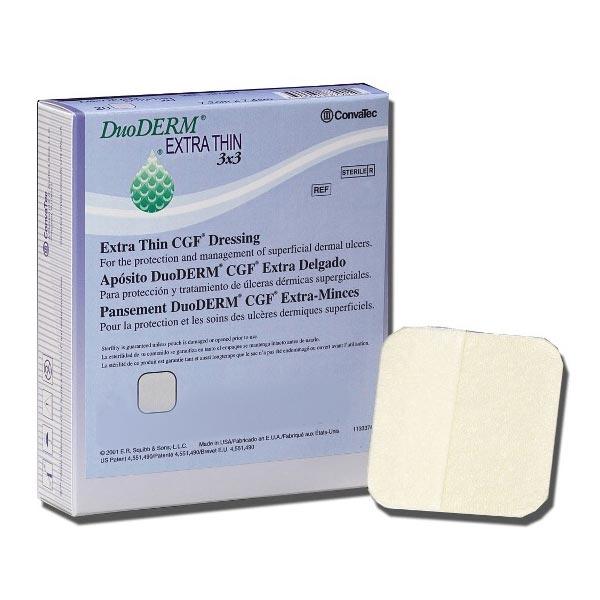 "Convatec duoderm extra thin hydrocolloid dressing 3"" x 3"" strip"