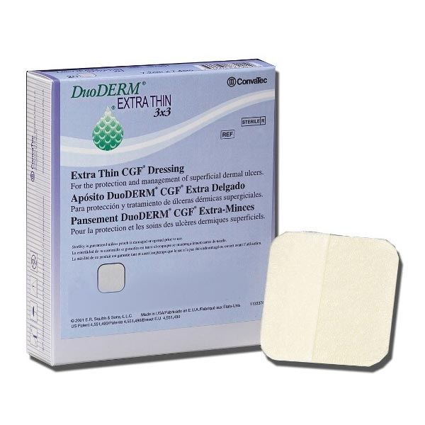 """DuoDERM Extra Thin Sterile Hydrocolloid Dressing, Square, 4"""" x 4"""""""