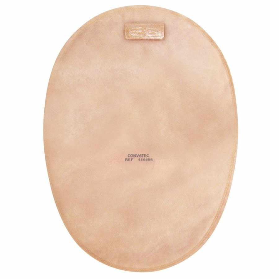 "Convatec natura closed-end 8"" pouch with 2-sided comfort panel, tan, 2-3/4"" flange"