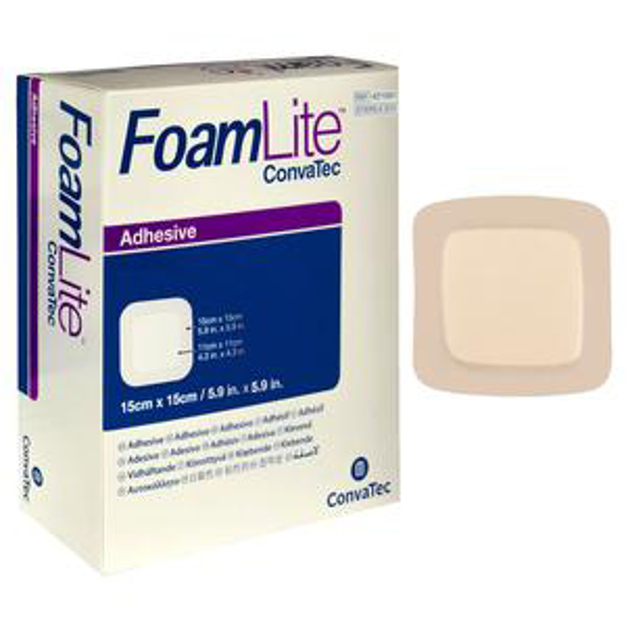 Convatec FoamLite Square Foam Adhesive Dressing, 6 x 6 Inch