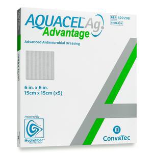 Convatec Aquacel Ag Advantage Wound Dressing, 6 x 6 Inch, Square