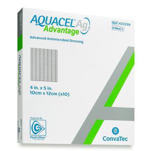 Convatec Aquacel Ag Advantage Wound Dressing, 4 x 5 Inch, Rectangle