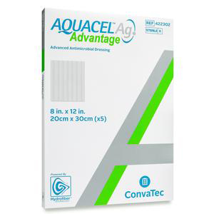 Convatec Aquacel Ag Advantage Wound Dressing, 8 x 12 Inch, Rectangle