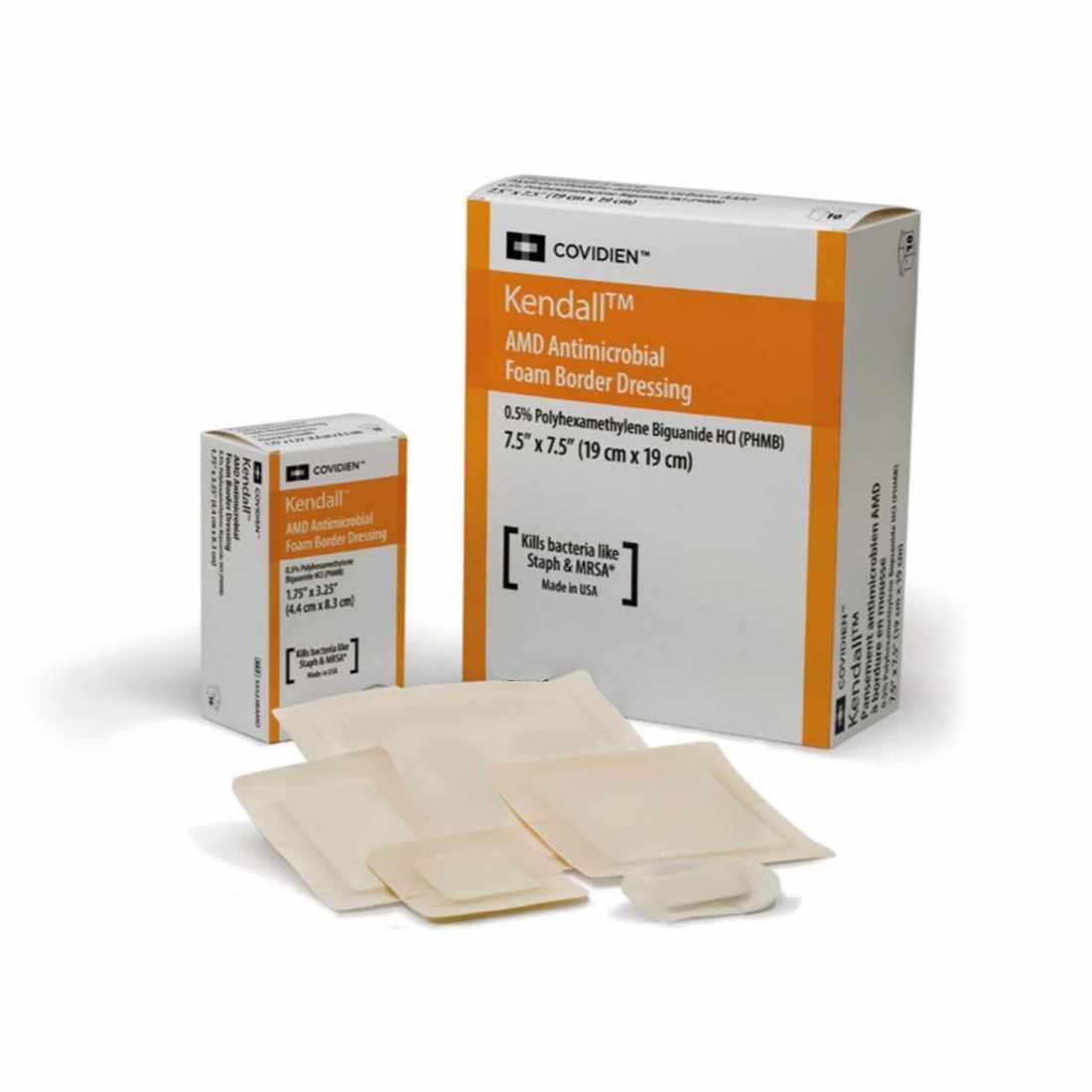 "Covidien AMD antimicrobial foam, w/back sheet, 4"" x 4"""