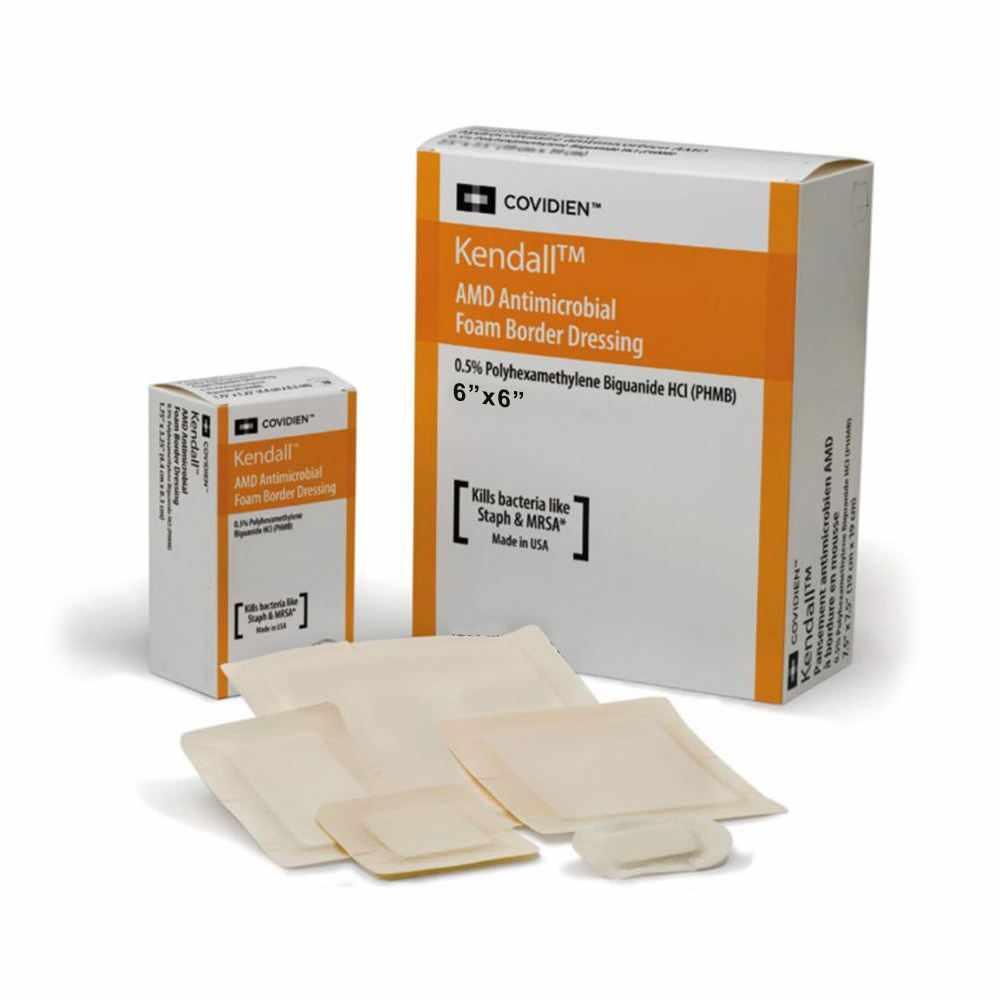 """Covidien AMD antimicrobial polyurethane foam dressing 6"""" x 6"""""""