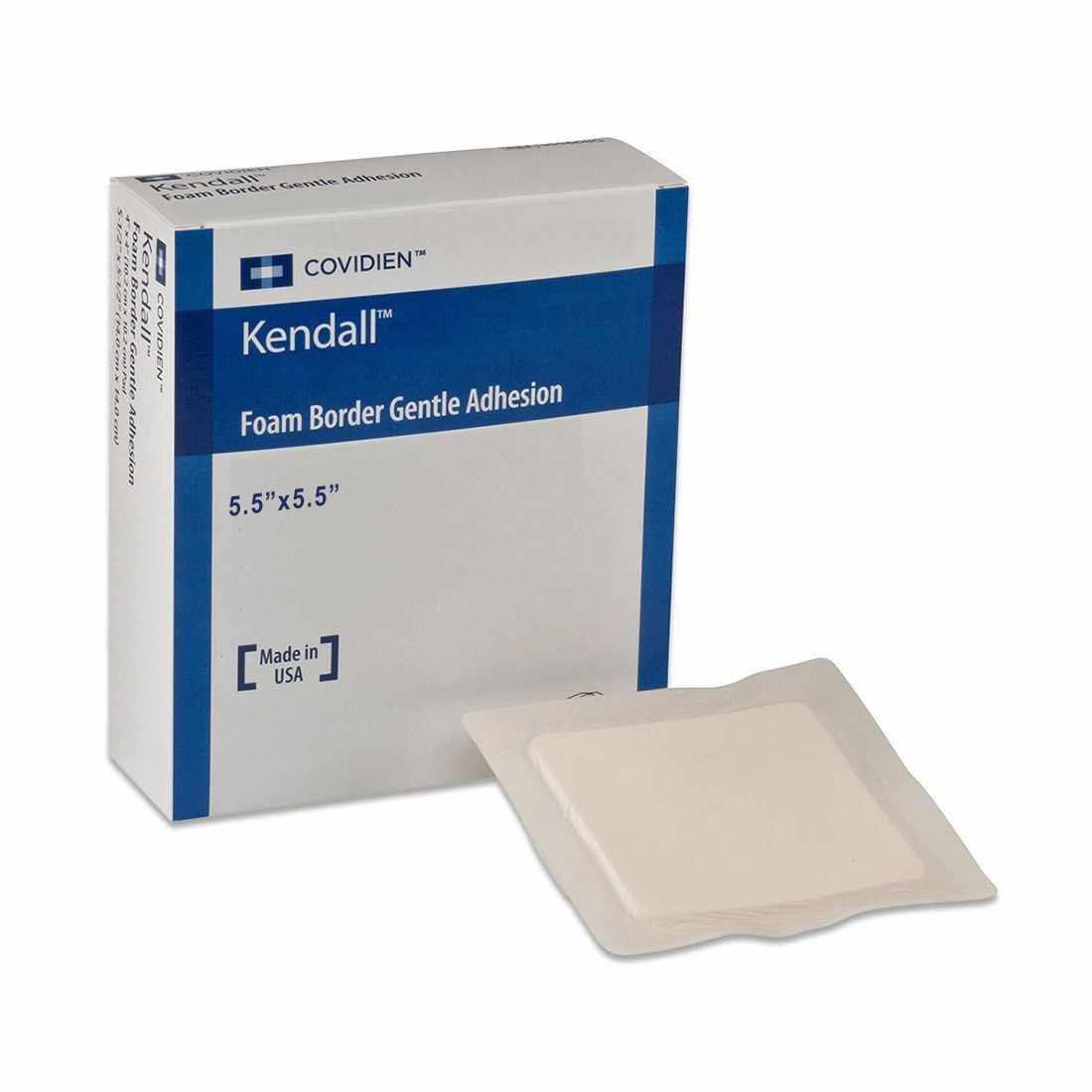 "Covidien border foam gentle adhesion dressing 5.5"" x 5.5"" pad size 4"" x 4"""