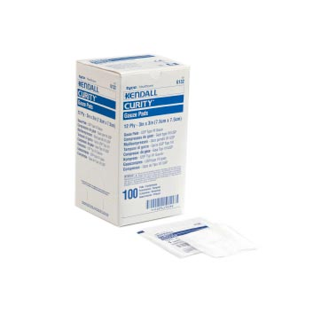 "Covidien curity sterile gauze pad 3"" x 3"" 12 ply"