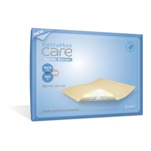 Crawford KerraMax Care Gentle Border Suber Absorbent Dressing, 4 x 4""