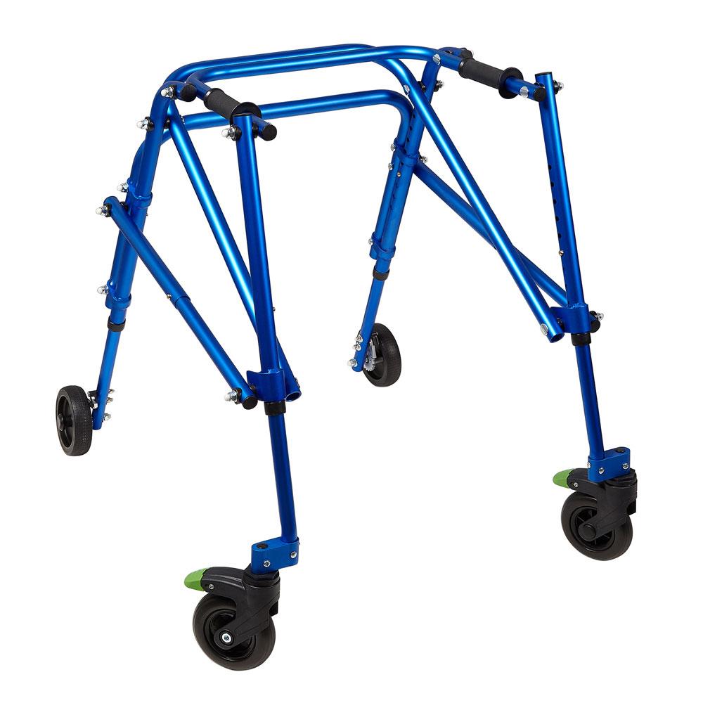 Klip 4-wheeled posterior walker with swivel wheel lock