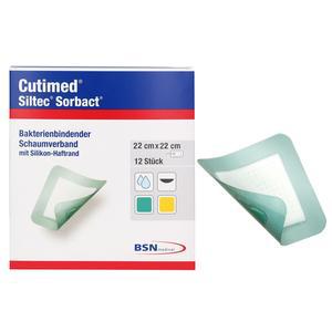 Cutimed Siltec Sorbact Foam Dressings, 9 Inch x 9 Inch
