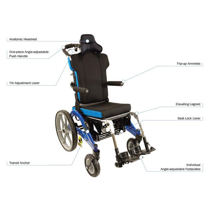 Convaid flyer tilt-in-space wheelchair - Features