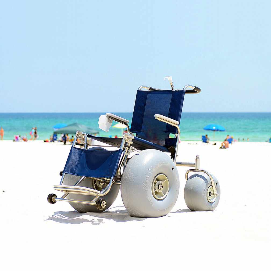 De-bug Stainless steel beach wheelchair with elevating legrest