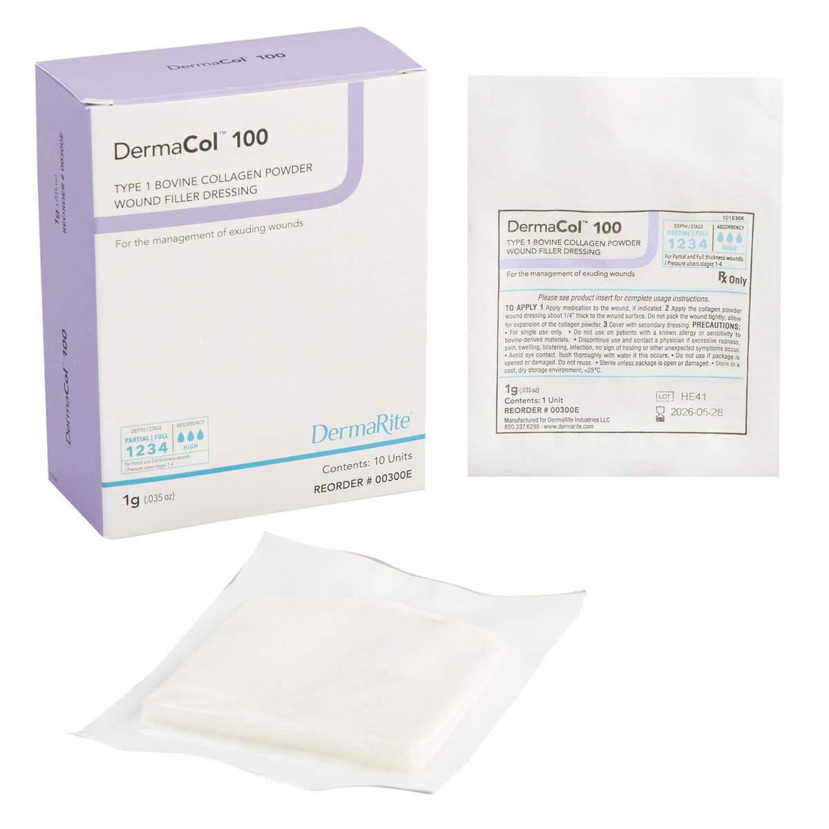 DermaCol 100 Collagen Powder Wound Filler Dressing, 1gm