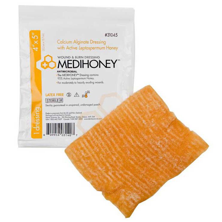 "Medihoney Calcium Alginate Dressing With Manuka or Leptospermum Honey, Occlusive 4"" x 5"""
