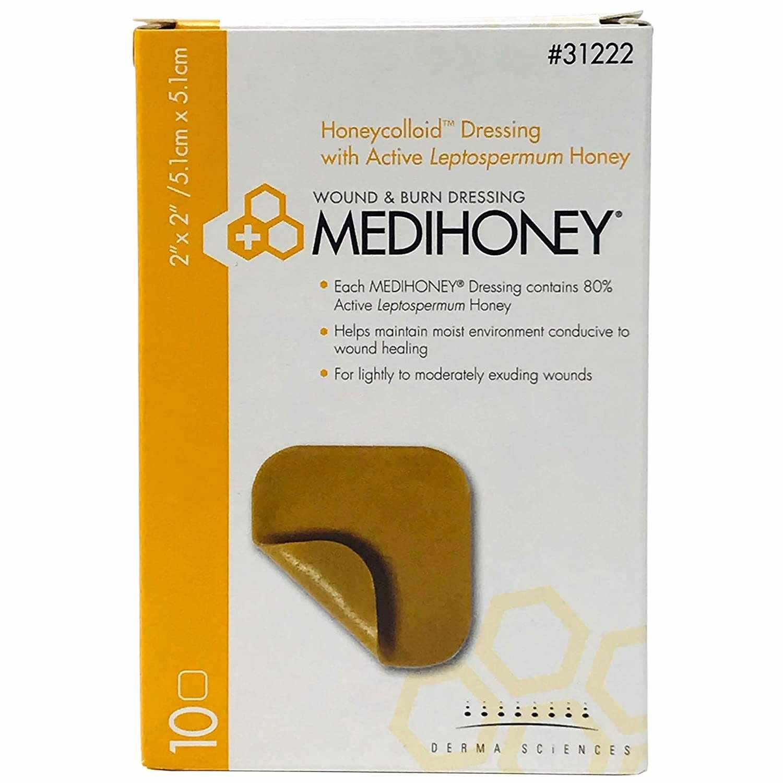 Medihoney hydrocolloid dressing without border, 2 x 2 Inch