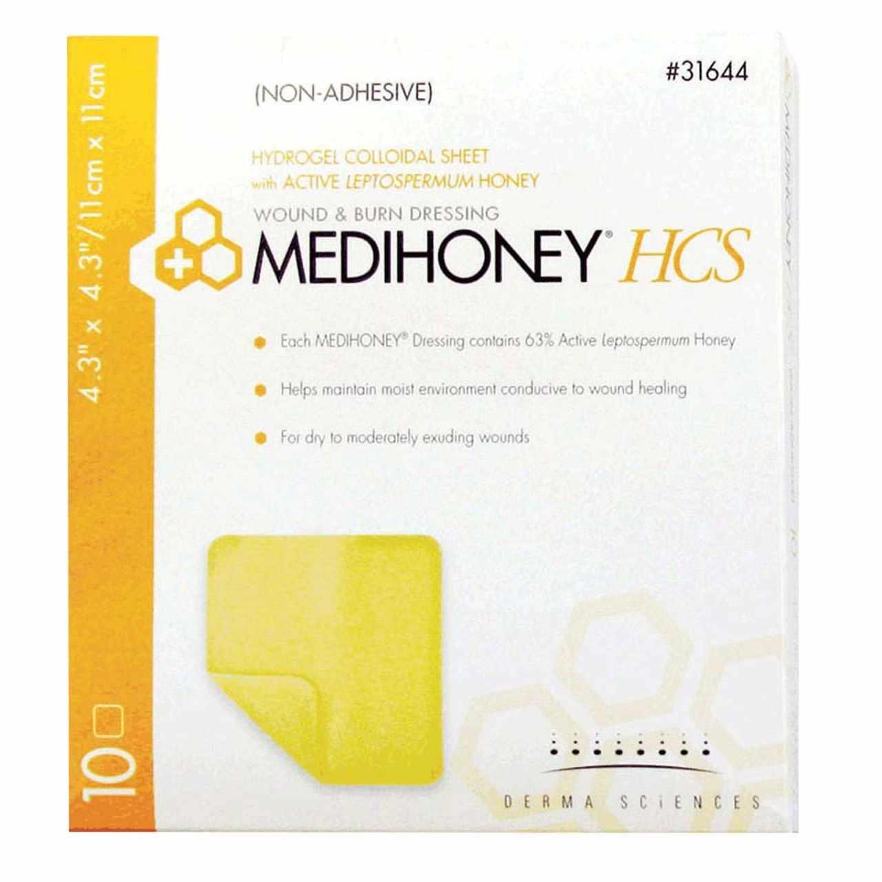 Medihoney Hydrogel Dressing, 4.3 X 4.3 Inch, Sterile