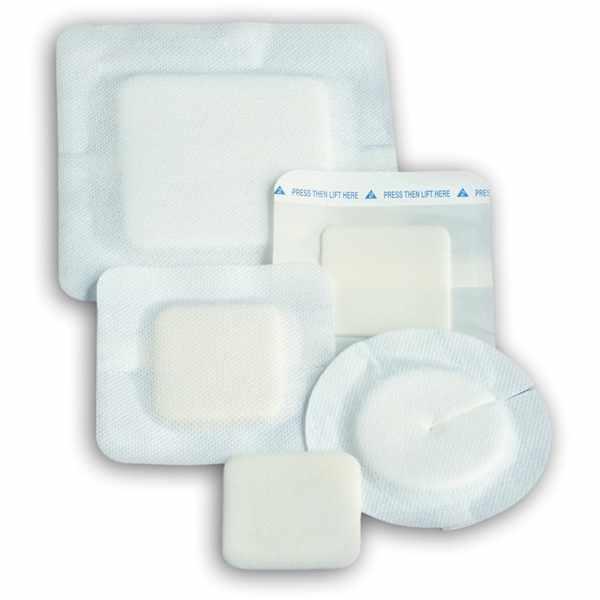 """Polyderm Hydrophilic Foam Wound Dressing, 4"""" x 4"""" Border, 2 1/4"""" x 2 1/4"""" Foam"""