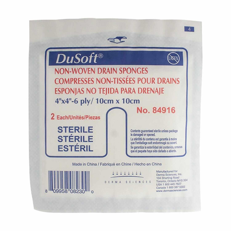 "DuSoft Non-Woven Tracheostomy/Drain Sponge, 6-Ply, 4"" x 4"""