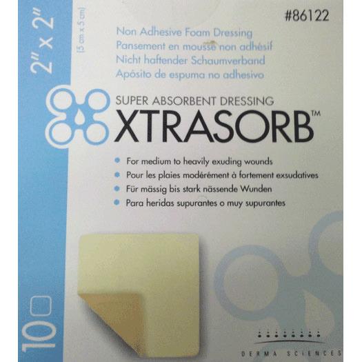 "Derma sciences xtrasorb non-adhesive foam dressing 2"" x 2"""