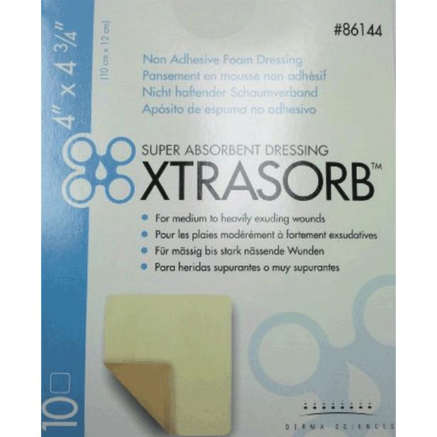 "Derma sciences xtrasorb non-adhesive foam dressing 4"" x 4-3/4"""
