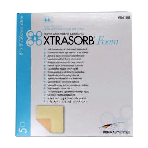 "Derma sciences xtrasorb non-adhesive foam dressing 8"" x 8"""