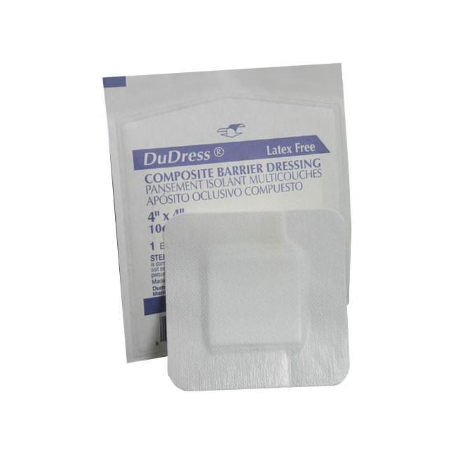 "Derma sciences dudress film top barrier dressing 4"" x 4"""