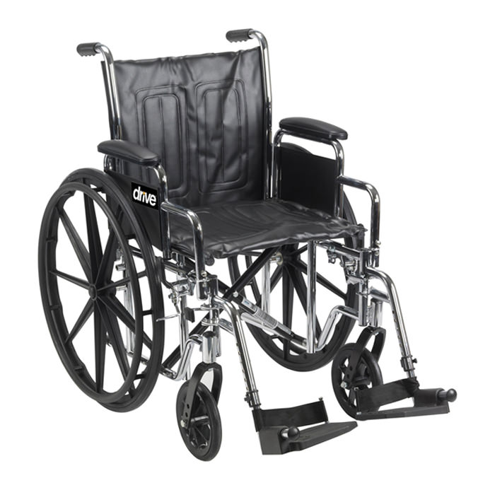 Drive Medical chrome sport dual axle manual wheelchair
