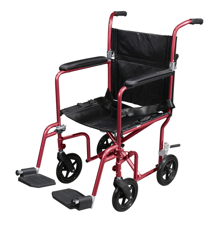 Drive medical deluxe fly-weight aluminum transport chair with removable casters
