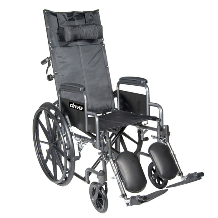 Drive Medical silver sport full reclining single axle wheelchair
