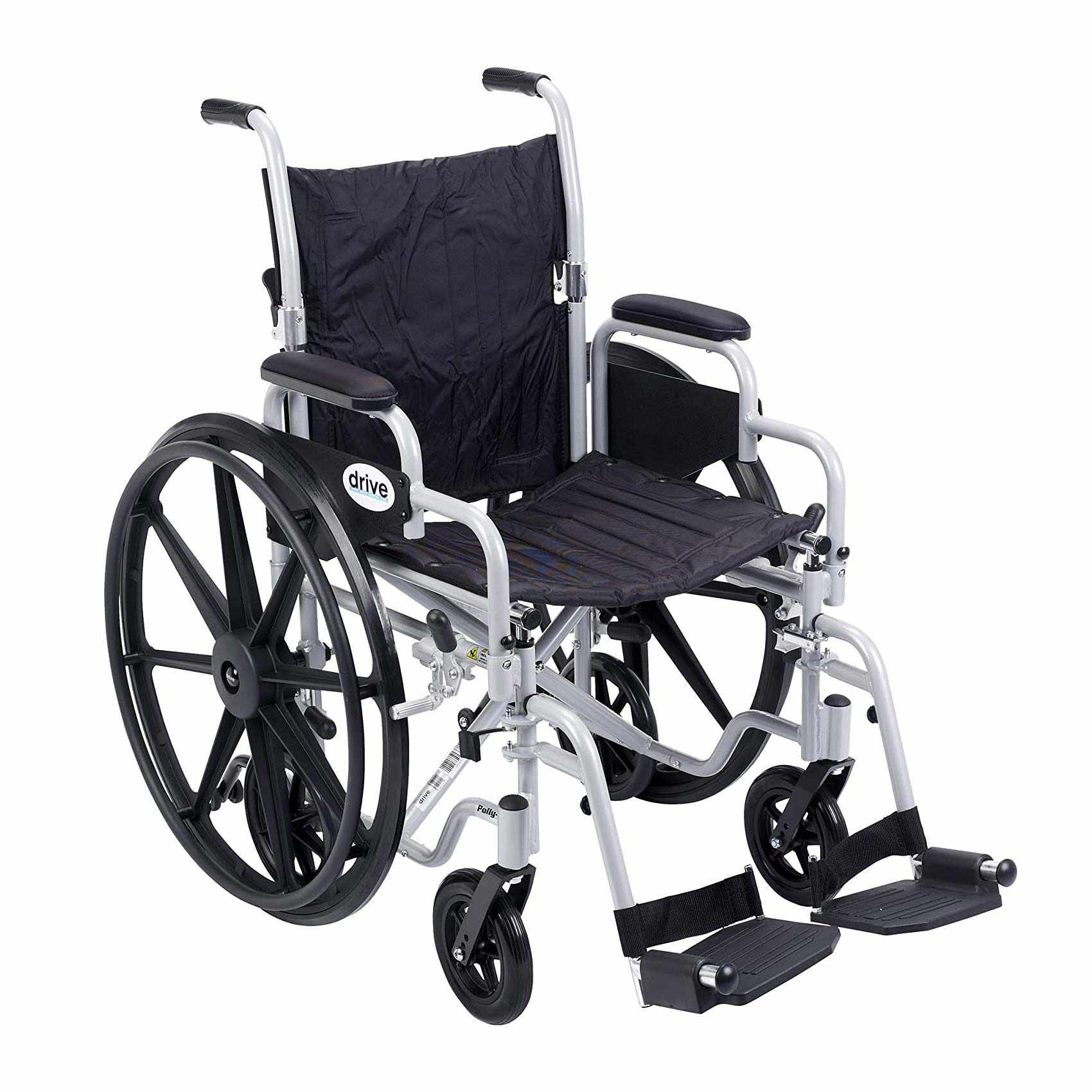 Drive Medical Poly-Fly high strength light weight transport wheelchair with swing-away footrest