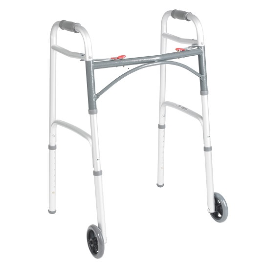 "Drive Medical deluxe two button folding walker with 5"" wheels"
