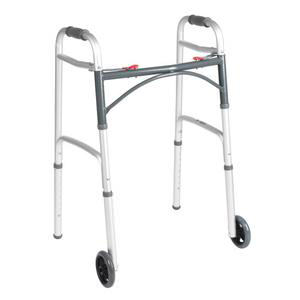 Drive Deluxe Folding Patient Walker with 5'' Wheels, Two Button