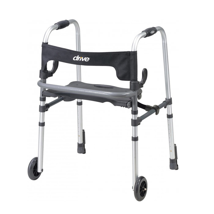 Drive Medical Clever lite LS adult walker with seat and push down brakes