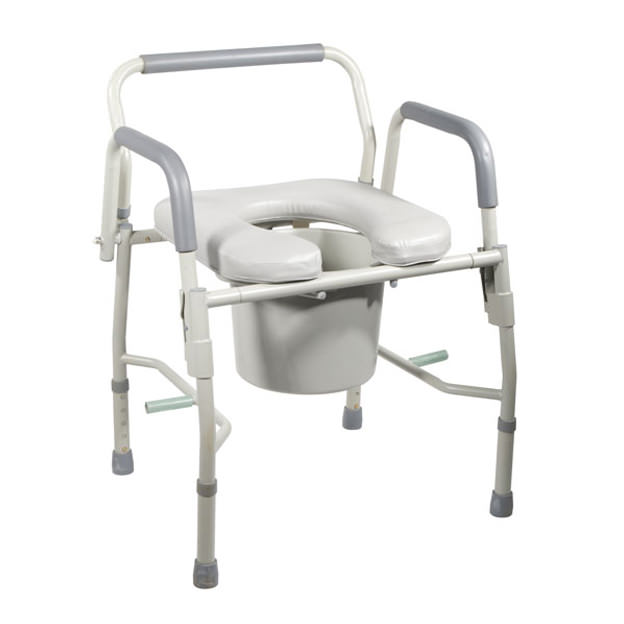 Drive Medical deluxe steel drop-arm commode with padded seat