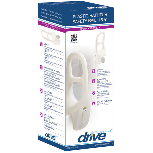 "Drive Medical plastic tub rail, 16.5"""