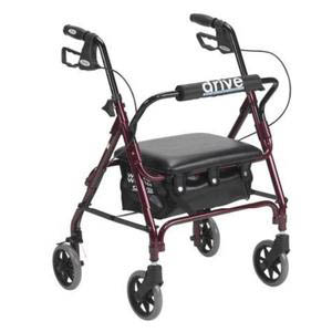 "Drive Adjustable Height Patient Rollator with 6"" Wheel, Junior, Red"