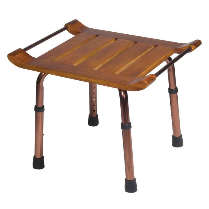 Drive Medical teak adjustable height bath stool