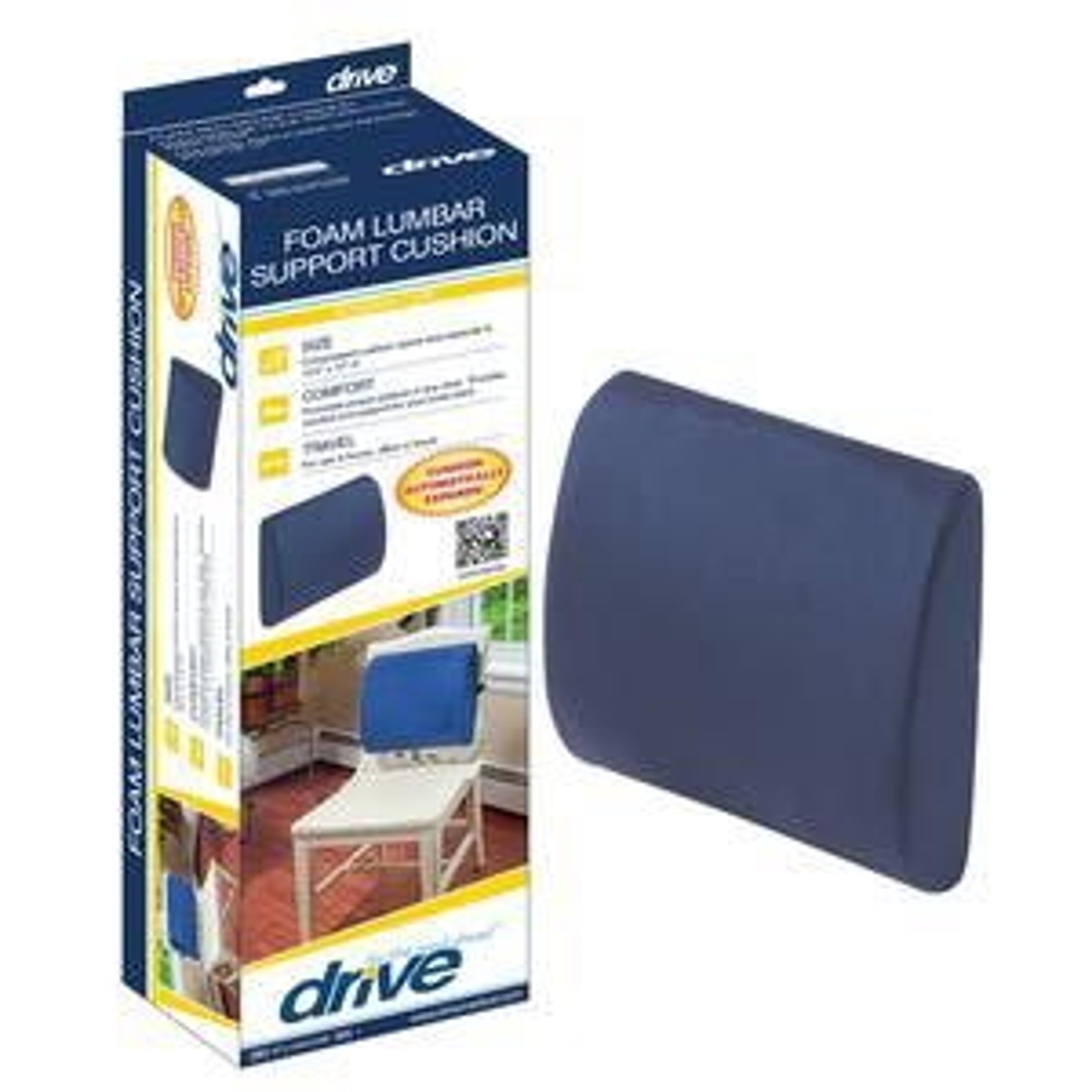 "Drive Compressed Lumbar Support Cushion, Foam, 13.4"" W x 13"" L, 4"" D"